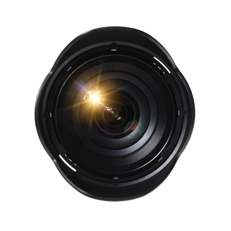 Front view of camera lens on white Stok Fotoğraf