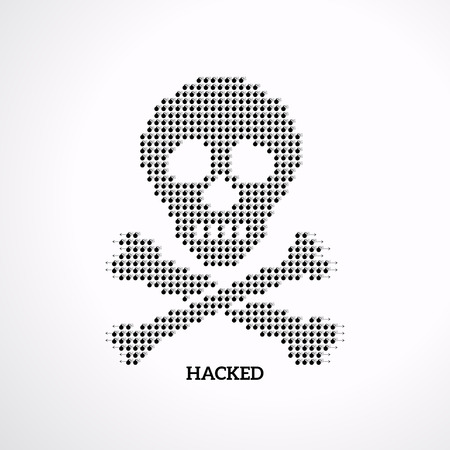 Hacking illustration, skull pattern with group of bombs Çizim