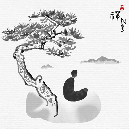 The meditator meditates under pine tree on mountains, Chinese characters mean enjoy Zen. Illustration