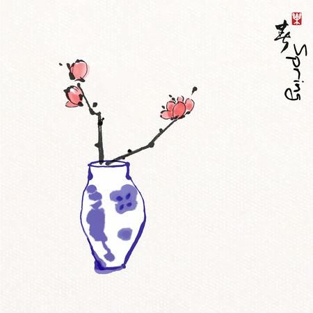 Blume in Vase mit chinesischer Malerei, chinesische Schriftzeichen bedeuten, den Frühling zu genießen.