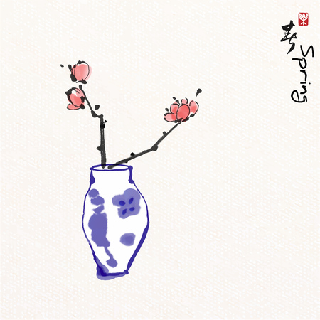 Flower in vase  with Chinese painting art style, Chinese characters mean enjoy springtime.