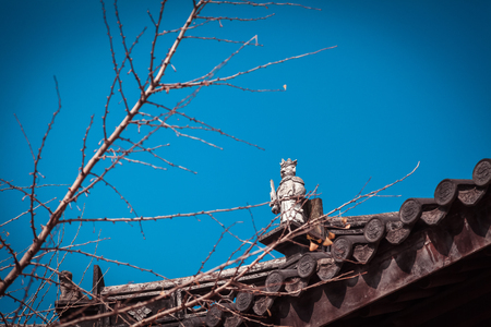 Sculpture Art of Ancient Temple Rooftop in Suzhou, China.
