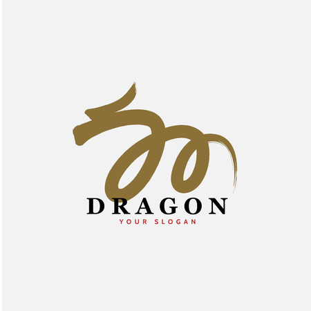 """East Asian dragon sign icon with letter """"M"""" shape. Vector Illustration"""