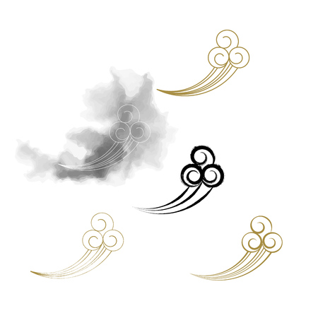 Vector brush stroke Chinese oriental traditional cloud