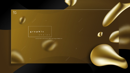 Abstract liquid golden shape. Fluid design. Isolated gradient waves with geometric lines, dots. for your web landing page.