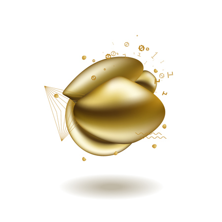 Abstract liquid golden shape. Fluid design. Isolated gradient waves with geometric lines, dots. Stok Fotoğraf - 121330851