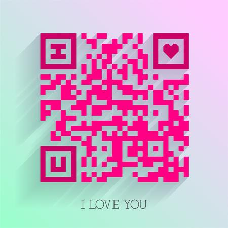 Smartphone readable QR code I love you design Ilustração