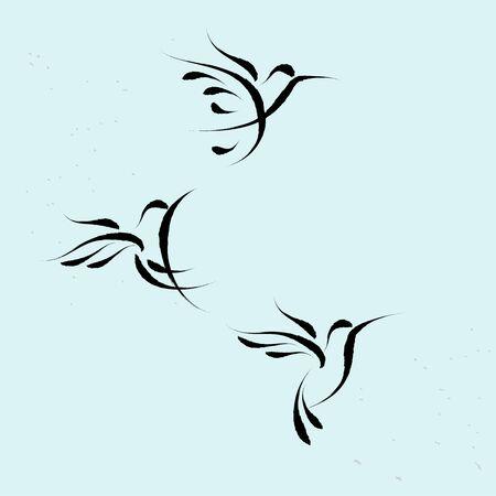 Hummingbird  flying symbol with brushwork style Stock Illustratie