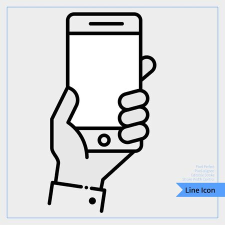 Hand holding mobile phone icon - Professional, Pixel-aligned, Pixel Perfect, Editable Stroke, Easy Scalablility.