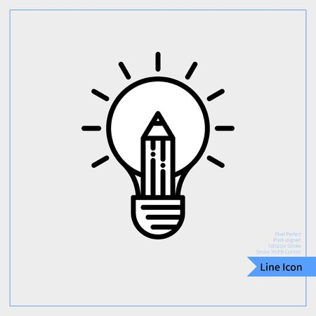 Incandescent with pencil icon - Professional, Pixel-aligned, Pixel Perfect, Editable Stroke, Easy Scalablility. 版權商用圖片 - 140404823