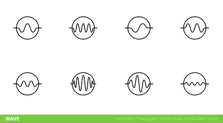Wave Icon - pixel-aligned, Pixel Perfect, Editable Stroke, Easy Scalablility.