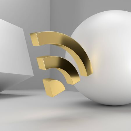 Gold material wifi symbol in white geometric space