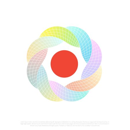Vector illustration mobius circle shape, Abstract endless geometric loop. Letter O. Multicolor gradient infinite circular shape.