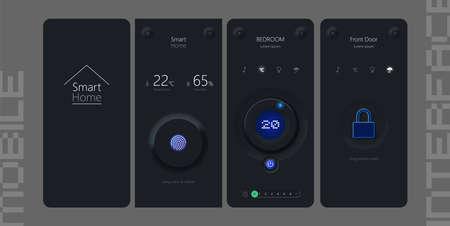 Smart Home neumorphic design kit with neumorphism style.