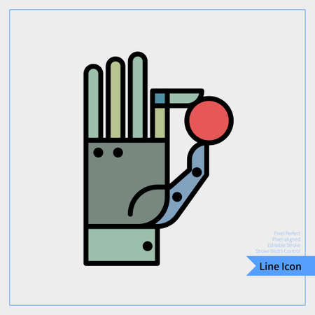 Artificial intelligence Robot (Robotic hand) holding a Sphere. Thin line icon. professional, pixel-aligned, Pixel Perfect, Editable Stroke, Easy Scalablility. Ilustração