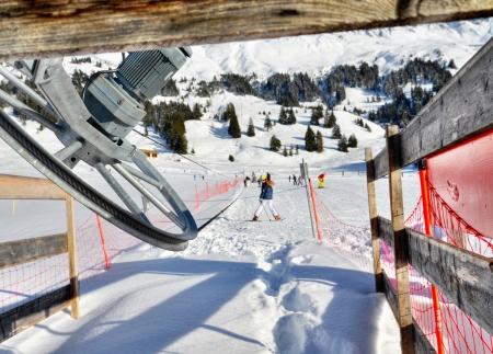 Ski lift for children and beginners Stock Photo