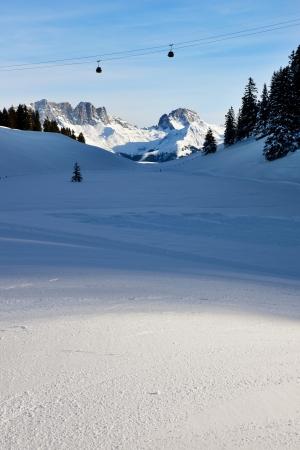 Gondola high above the ski slopes