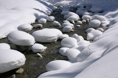Mountain stream in winter dress