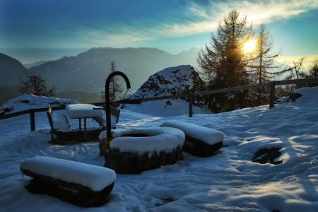 Picnic area in winter Stock Photo