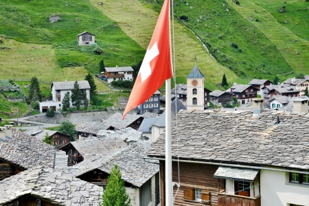 Slate roofs from the mountain village of Vals Stock Photo