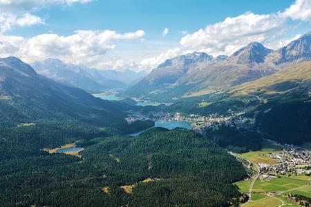 Panorama of the Upper Engadine from Muottas Muragl Stock Photo