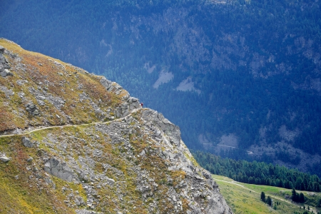 Steep Trail in the Engadin Stock Photo