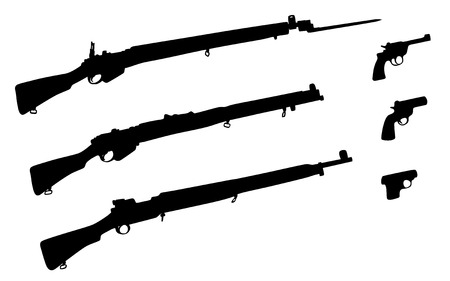 arsenal: A collection of gun silhouettes, illustration