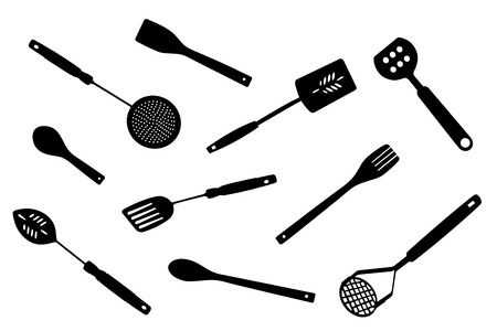 slotted: A collection of kitchen tools silhouettes, illustration.