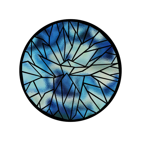 frosted: Abstract flower, frosted stained glass illustration