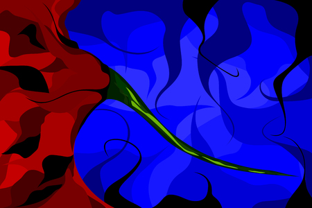 stem: Abstract Flower stem. Vector illustration of the stem of a red flower against a blue background.