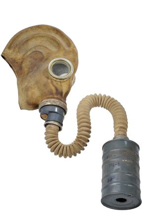biochemical: 1 gas masks placed on a white background  Stock Photo