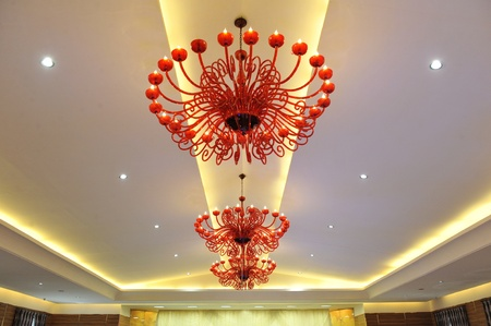 A chandelier in a hotel  Can be used in a web site design