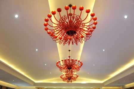 A chandelier in a hotel  Can be used in a web site design  Stock Photo