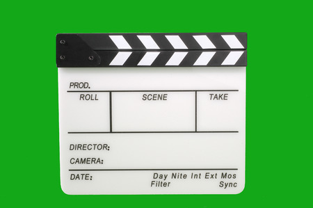 filmmaker: Movie clapperboard - isolated over a white background Stock Photo