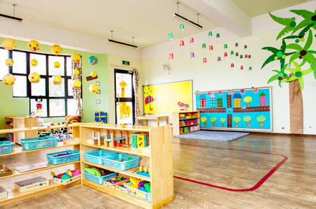 Kindergarten class room without kids.