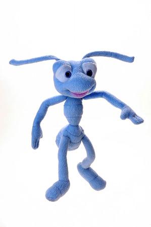 Blue plush toy ants on a white background Stock Photo