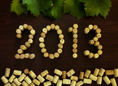 inscription 2013 laid out the wine corks on a dark background Stock Photo - 15826176
