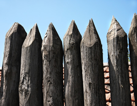 stockade: wooden palisade of the protective fence of an ancient fortress