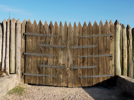 cossacks: restorations wooden gate of the military strengthening of the Zaporozhye Cossacks, 16 century, Ukraine