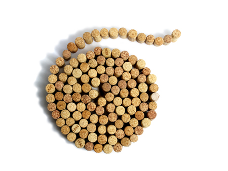 tartaric: spiral from wine corks on a white background