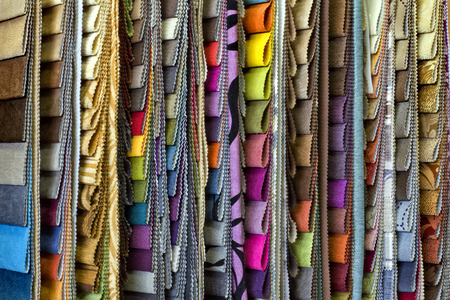 upholstered: set of multi-colored upholstery samples for upholstered furniture