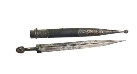 scheide: ancient  dagger Georgian with scabbard, 18-19 century, isolated Lizenzfreie Bilder