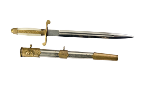 scabbard: Bulgarian dirk combined arms with scabbard, 1951, isolated