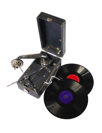 sound box: old gramophone with a gramophone records on a white background