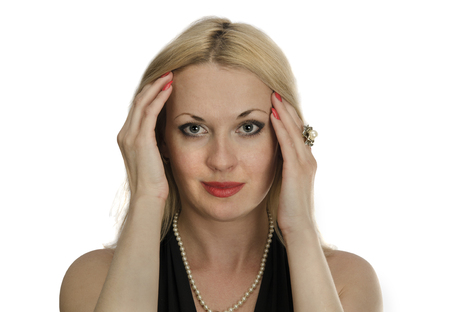 fullface: portrait of blond with red lips and nails, background white Stock Photo
