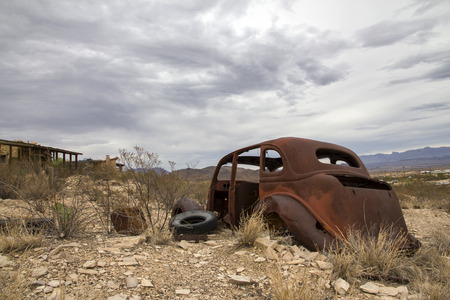 abandoned car: Terlingua Ghost Town - Texas Stock Photo