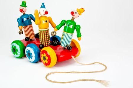 pull toy: Payasos en una atracci�n de juguete