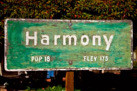 Sign for the town of Harmony, California