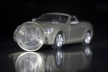 A car with an euro coin