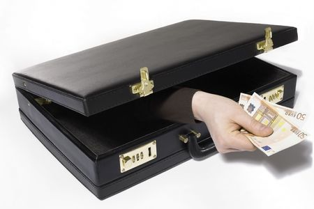 A Hand appears reaches out of a briefcase